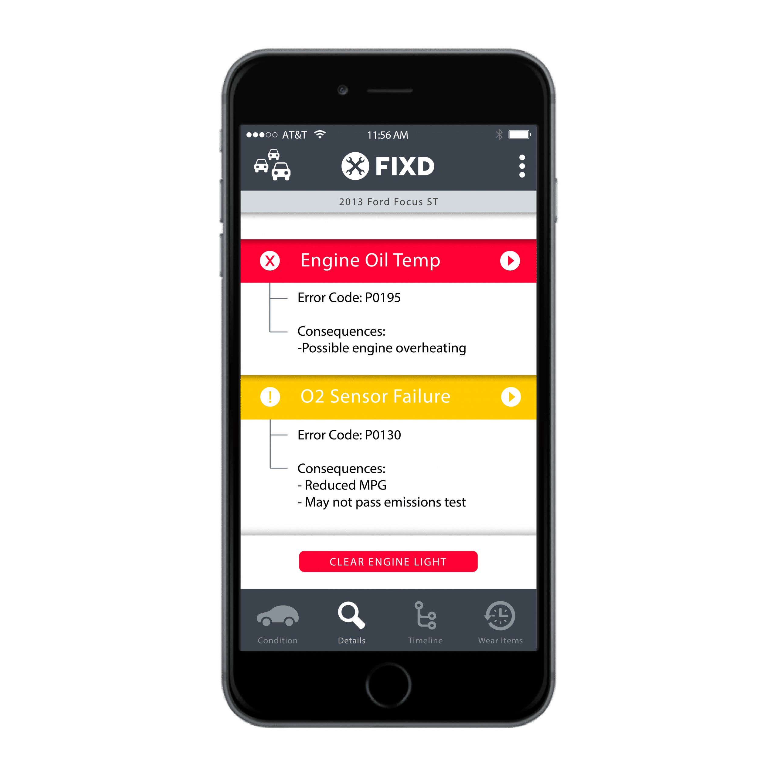FIXD OBD2 scanner app reads check engine light codes