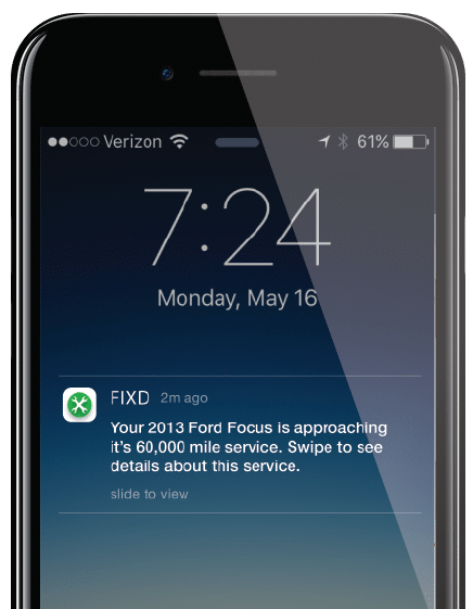 Maintenance timeline push notifications