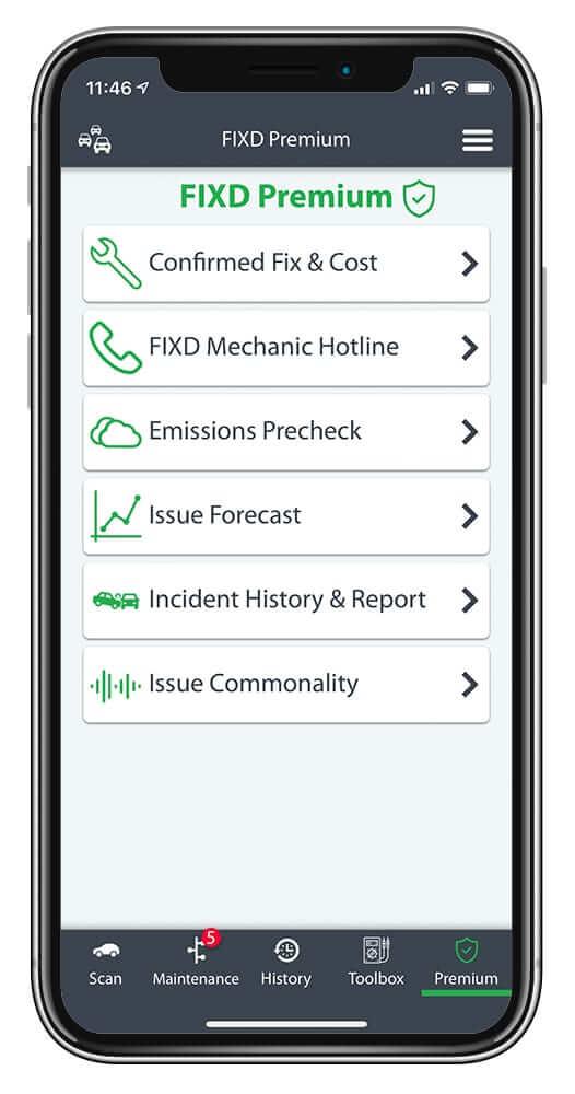 FIXD Premium OBD2 App home screen
