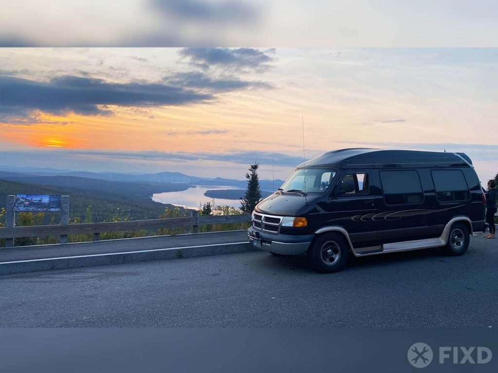 Van camping at a scenic overlook