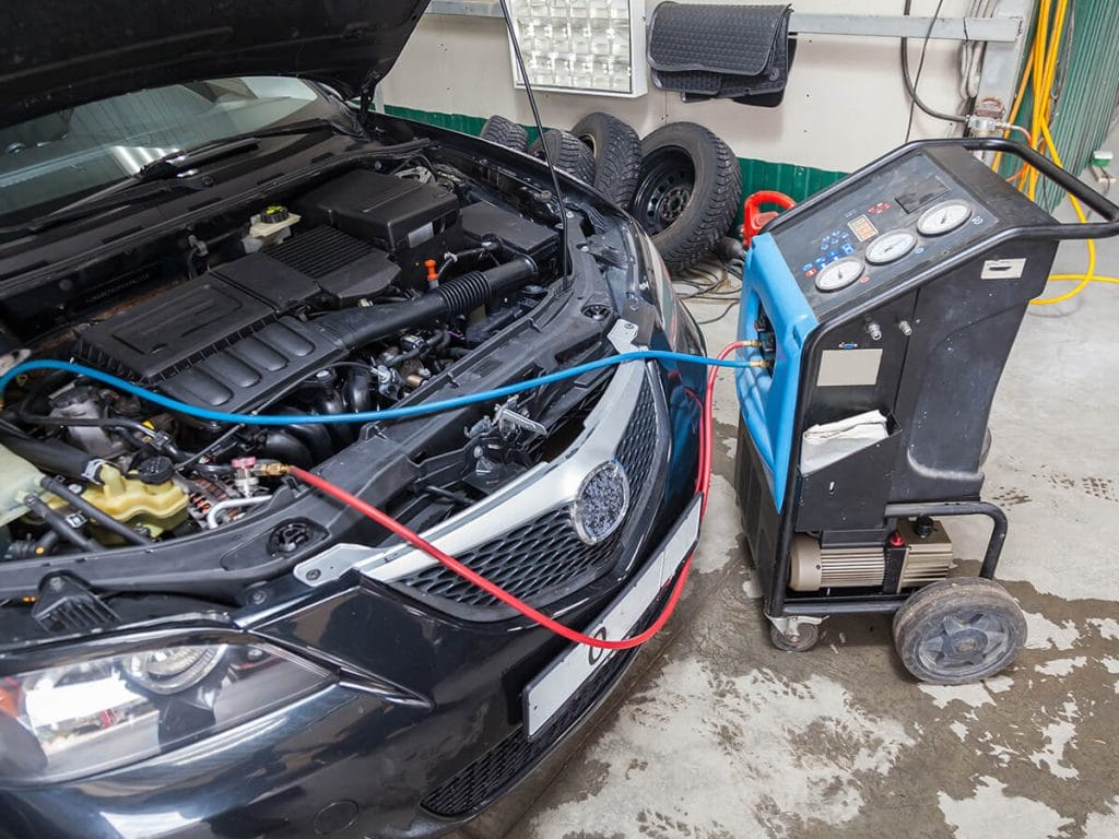A/C system being recharged