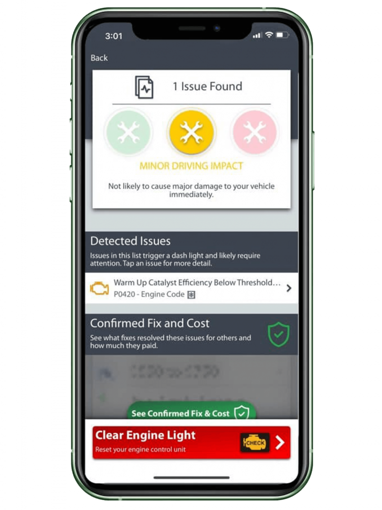 clear check engine light in FIXD app