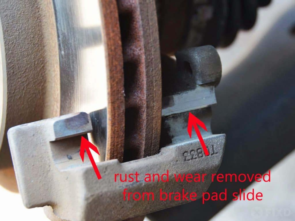 clean brake pad slides