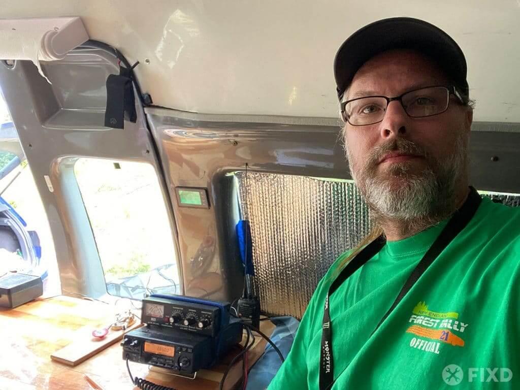 Justin manning the 80 meter ham radio station