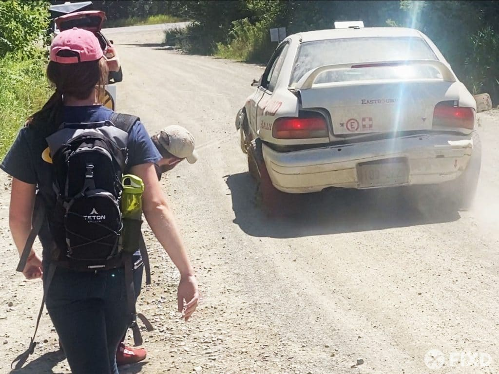A rolling wreck at the New England Forest Rally