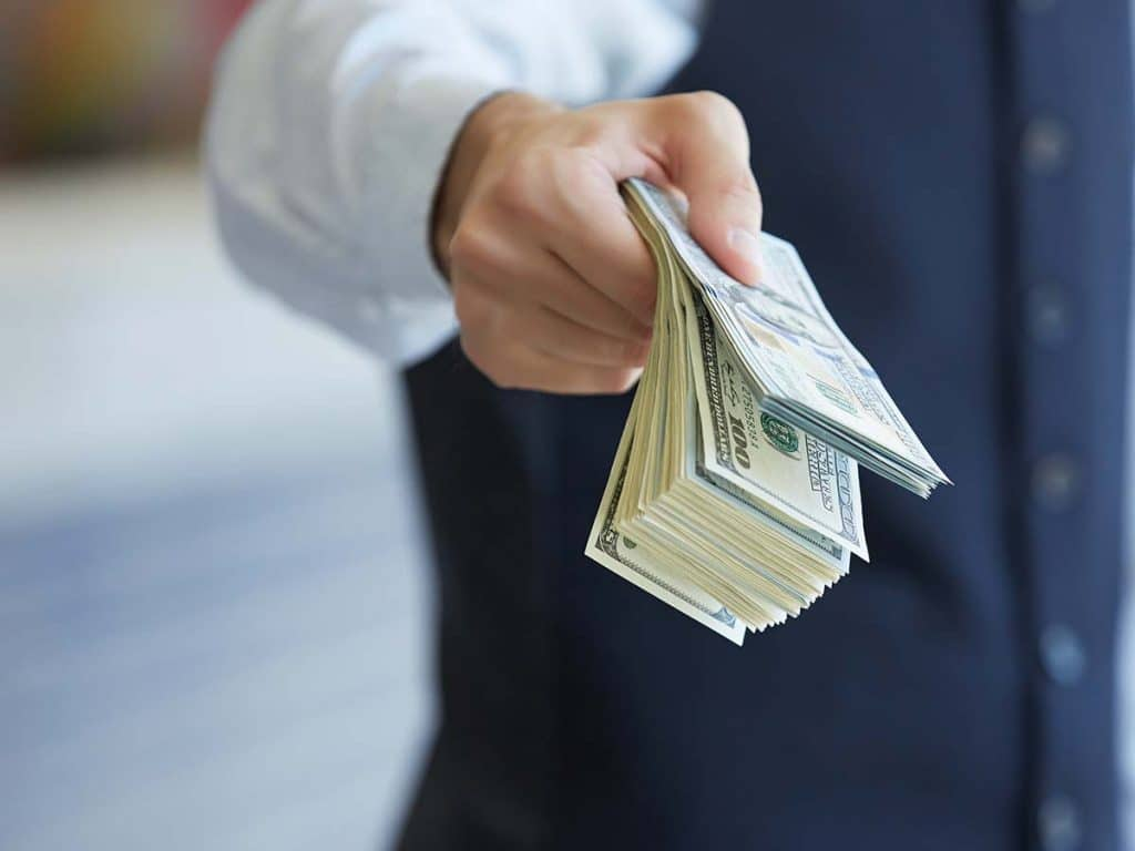 person holding onto a large sum of cash