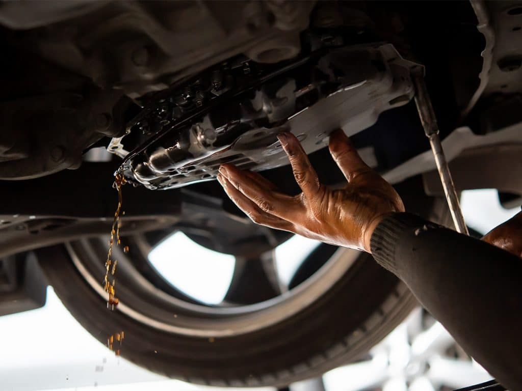 transmission pan being removed