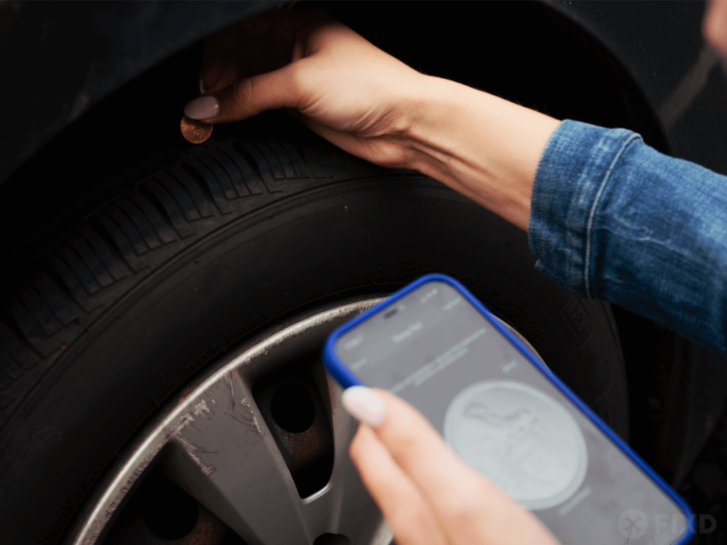 doing the Penny Test on tires with FIXD app