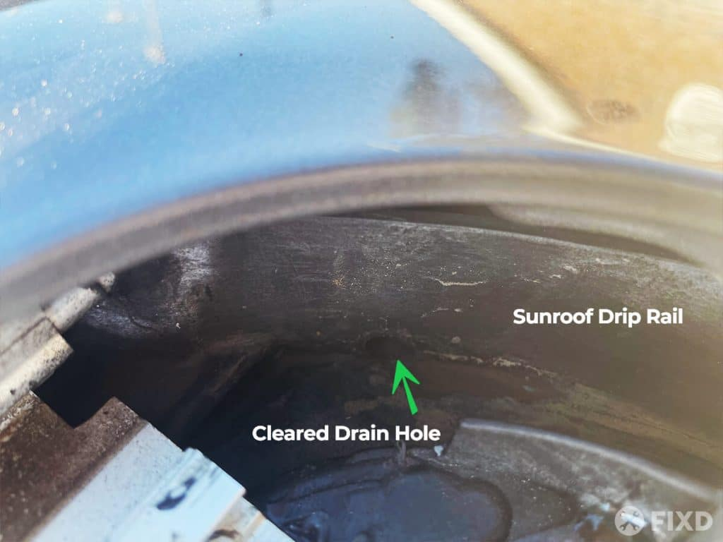 top view of the sunroof drain once cleared